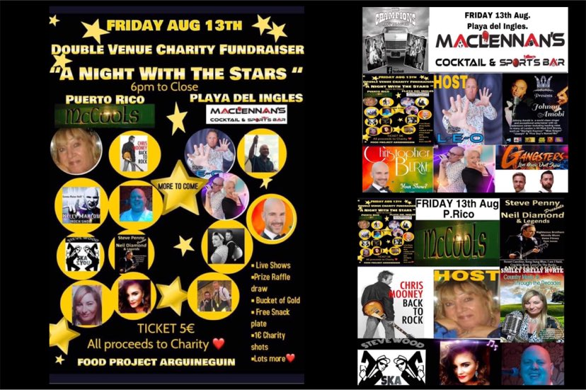 """Double Venue Charity Fundraiser –  """"A Night With The Stars"""""""